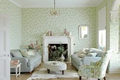 Feminine Florals - Living Room Furniture & Designs - Decorating Ideas (EasyLiving.co.uk), Sanderson Wallpaper