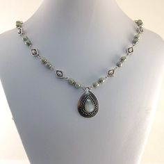 Silver Teardrop Necklace Blue Gray Czech Glass by CinLynnBoutique, $36.00