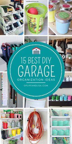 Check out these simple garage storage and organization ideas you can DIY this weekend. Garage Organisation, Home Organization Hacks, Organizing Your Home, Organized Garage, Organizing Tips, Organising, Garage Design, Diy Garage, Garage Workshop
