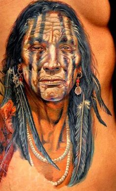 Part of an amazing series of native american inspired tattoos that wrap aroung her body by artist Dmitriy Samohin