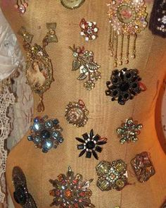 "Brooches - I can think of a thousand different ways to incorporate these little ""gems"" into my craft ideas!   MB"