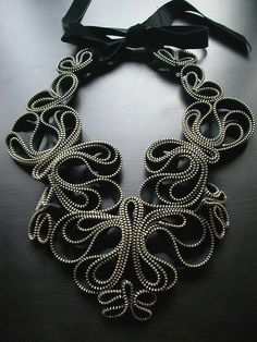 Sculptural Jewellery - necklace made from zippers with beautifully sculpted symmetry - wearable art; statement jewelry