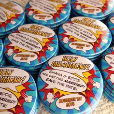 Wedding Save The Date Magnets Comic Book Design by LoveMeDoDesign