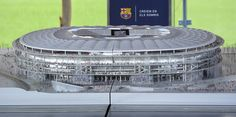 Picture shows a mockup of the New Camp Nou during the presentation of FC Barcelona stadium's remodelling project, at the at the Camp Nou stadium in Barcelona, on April 21, 2016.