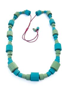 Colorful jewelry-Statement jewelry-Long bead necklace with chunky beads of corrugated paper in two shade of green-personalized womens