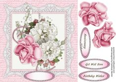 Forever Roses 1 on Craftsuprint designed by Ceredwyn Macrae - A beautiful card to make and give with Forever Roses has three greeting tags and a blank one  - Now available for download!