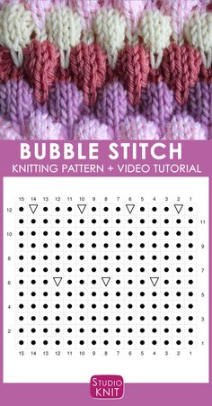 Bubble Knit Stitch Pattern Chart with Video Tutorial by Studio Knit. How to Knit the Bubble Stitch Pattern with free knitting pattern and video tutorial by Studio Knit Knitting Stiches, Knitting Charts, Knitting Socks, Knitting Patterns Free, Knit Patterns, Free Knitting, Baby Knitting, Stitch Patterns, Knitted Hats