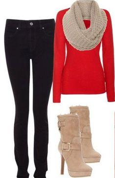Feliz navidad!!! Es un conjunto perfecto para usar en navidad; unos jeans negros, un sueter rojo q hace contraste con una bufanda y unas botas divinas.