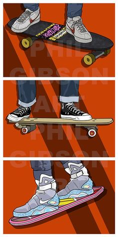 """Original """"Slacker, Butthead, Bojo"""" Art Print Back to the Future Marty McFly Hoverboard Poster Marty Mcfly, Forrest Gump, Back To The Future Tattoo, Back To The Future Party, Sneakers Wallpaper, The Future Movie, Bttf, Sneaker Art, Art Original"""
