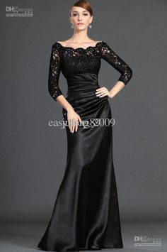 3ad2c03221c7 Wholesale Custom Made Elegant Long Sleeve Floor Length Lace Elastic Satin  Bridesmaid Prom Evening Dresses XD
