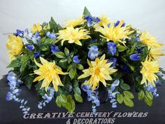 Double Cemetery Silk Flower Headstone/Tombstone/ Saddle/Pillow Grave Decoration