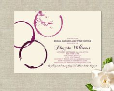 Wine Glass Stains Theme Bridal Shower Invitations - Modern Rustic Design