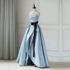 Blue party dress strapless evening dress backless prom dress satin long formal dress evening dress with pleats