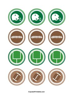 Football cupcake toppers. Use the circles for cupcakes, party favor tags, and more. Free printable PDF download at http://cupcakeprintables.com/toppers/football-cupcake-toppers/