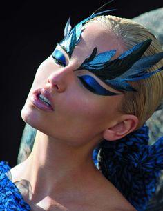 Make up / Vogue Paris on We Heart It Bird Makeup, Makeup Art, Eye Makeup, Mermaid Makeup, Peacock Makeup, Runway Makeup, Makeup Style, Animal Makeup, Makeup Contouring