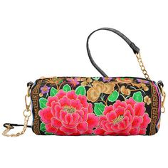 Mellow World Bella Crossbody Handbag ($56) ❤ liked on Polyvore featuring bags, handbags, shoulder bags, black, handbags shoulder bags, floral print handbags, shoulder handbags, chain crossbody and crossbody purse