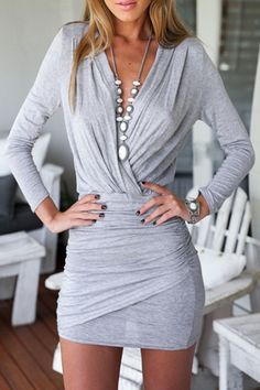Sexy Silver grey Plunging Neck Ruffle Long Sleeve Wrapped BodyCon Dress #Sexy #Silver #Grey #BodyCon #Dress #Fashion #Chunky #Accessories #Outfit #Ideas