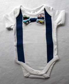 03 month old boy bow tie and suspenders onesie/ by MadeWise, $20.00