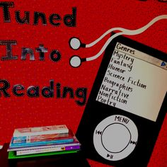 Bulletin board with iPod playlist of literary genres