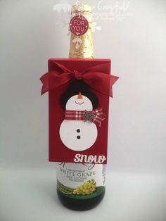 Baby, It's Cold Outside! Punch Art Snowman Bottle Tag and Card