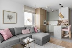 Salon z kuchnią Exterior Design, Interior And Exterior, Sofa, Couch, Studio, Gallery Wall, Modern, Furniture, Home Decor