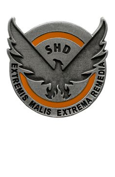 """Keep your S.H.D insignia close to your heart !   The Division - Official S.H.D. Pin embossed S.H.D logo and motto  motto """" extremis malis, extrema remedia""""."""