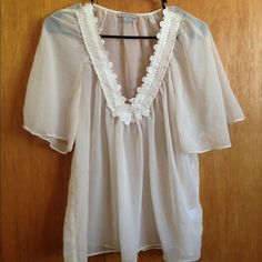 Sheer, Flowy V-Neck Shirt Brand Katiek. Size small. No wear. Worn twice. Tops