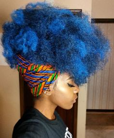 blue, Afro, and blue hair image Blue Natural Hair, Pelo Natural, My Hairstyle, Afro Hairstyles, Flower Hairstyles, Fashion Hairstyles, Afro Punk, Big Hair, Your Hair
