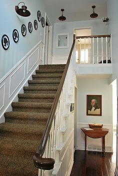 Love The White And Dark Railing And Also The Wainscoting Up The Stairs/down  Hallway