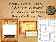 "This is a fantastic Harry Potter themed ""wanted wizard"" student of the week bulletin board set. The set is based off of Sirius Black's wanted posters. The set includes 1 wanted wizard poster with a blank spot for a 4x6 picture, two different Azkaban prisoner signs for your students to hold, one wizard's known family poster and one facts known about the wanted wizard poster."