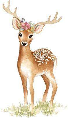 Fawn Tattoo, Deer Tattoo, Watercolor Deer, Watercolor Animals, Deer Illustration, Watercolor Illustration, Deer Art, Moose Art, Image Stickers