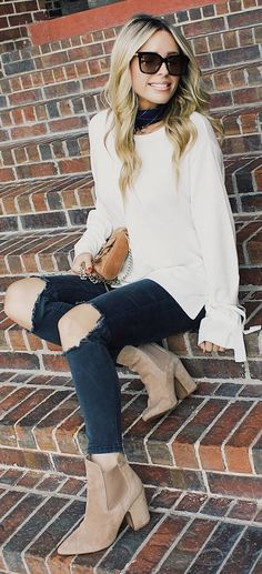 #fall #outfits white sweater ripped jeans