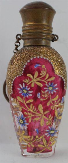 Beautiful Antique Chatelaine Cranberry Enamel Glass Perfume Bottle | eBay