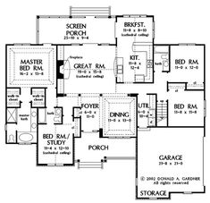This country design floor plan is 2097 sq ft and has 4 bedrooms and has 3 bathrooms. Ranch House Plans, Cottage House Plans, Bedroom House Plans, Country Style House Plans, Modern House Plans, Small House Plans, Kitchen Floor Plans, House Floor Plans, Master Bedroom Addition