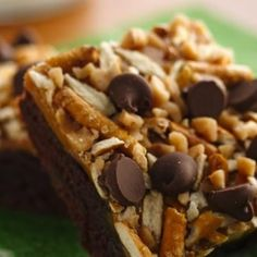 Hooray for sweet and salty! Pretzels add a fun surprise, and a crunchy texture, to these gooey, caramel-spiked brownies. If you like them a little saltier, Betty member Diana503 suggests adding a pinch of sea salt or some salted nuts to the topping.
