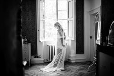 Amanda Barden Couture Robe, Boux Avenue Lace Chemise, Bo&Luca Head Piece, Gemporia Pearl Necklace and Very 'Bride' Slippers