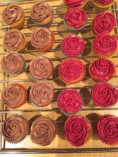 Mini Rosen Cupcakes mit Schoko und Waldbeerenfrosting
