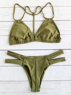 Army Green Braided Strap Ladder Cutout Bikini Set