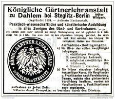 Original-Werbung/ Anzeige 1911 - KÖNIGLICHE GÄRTNERLEHRANSTALT ZU DAHLEM BEI STEGLITZ - BERLIN  - ca. 80 x 65 mm