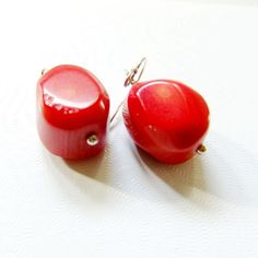 Precious Red Coral Pierced Earrings by LUC with by FloridaQuarry