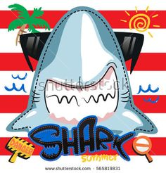 Funny summer shark in sunglasses on red and white striped background illustration vector.