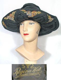 1920s Black Silk & Polychrome Needlepoint Wide Brimmed Vintage Hat
