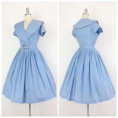 Perfect Periwinkle Blue Swiss Dot 50's Dress