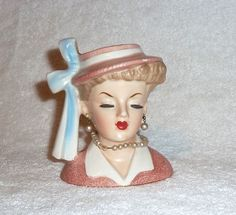 Vintage Napco Lady Headvase Head Vase Pink Hat Pearls 1950s Planter Lucy   | eBay