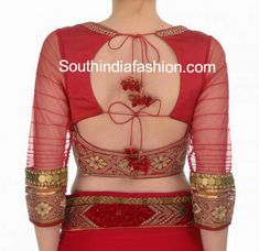 three fourth sleeves blouse designs