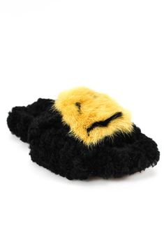 e6556d143f1ccb Anya Hindmarch Womens Smiley Slippers Slides 37 7 Black Mink Fur Shearling   725  fashion