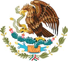Mexico's Coat of Arms - Mexican Government.Mexico's Coat of Arms features an eagle on top of a cactus with a snake in its mouth: Aztec symbolism for the founding of Tenochtitlán/Mexico City. Arte Latina, Mexican Flags, Mexican Flag Eagle, Mexican Army, Snake Art, Mexican Heritage, Mexico Art, Flag Of Mexico, Mexican American