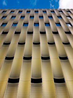 "Facade of ""de Cope"" parking garage at Papendorp in Utrecht, The Netherlands - photo by Burg + Schuh; designed by JHK Architecten Gothic Architecture, Amazing Architecture, Interior Architecture, Building Skin, Building Facade, Building Exterior, Facade Design, Exterior Design, Aluminium Facade"