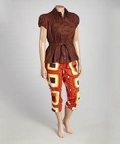 Loving this Brown Tie-Waist Top & Geometric Capri Pants - Plus on #zulily! #zulilyfinds