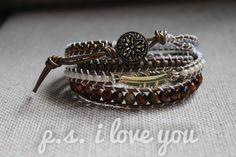 Metallic Leather Wrap Bracelet 'Gold Feather' by PSiloveyouSHOP
